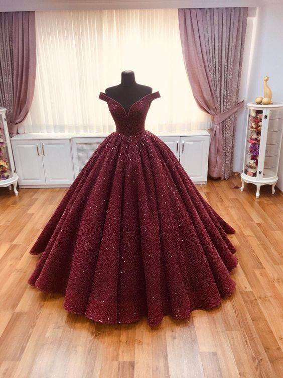 Burgundy Ball Gown Off the Shoulder Open Back Sequins Prom Dresses,Quinceanera Dresses,Girls Junior Graduation Gown -   15 dress Quinceanera burgundy ideas