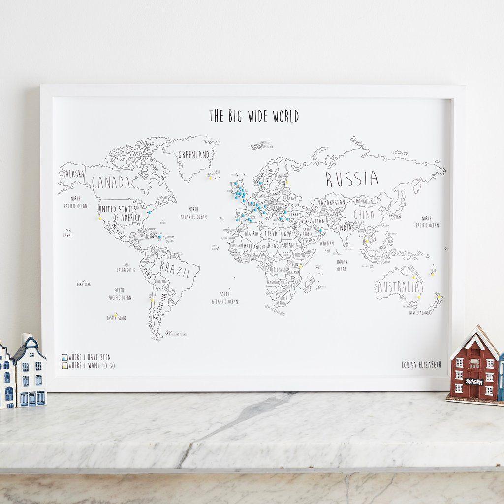 Personalised world pinboard map studio216 pinterest world personalised world pinboard map gumiabroncs Gallery