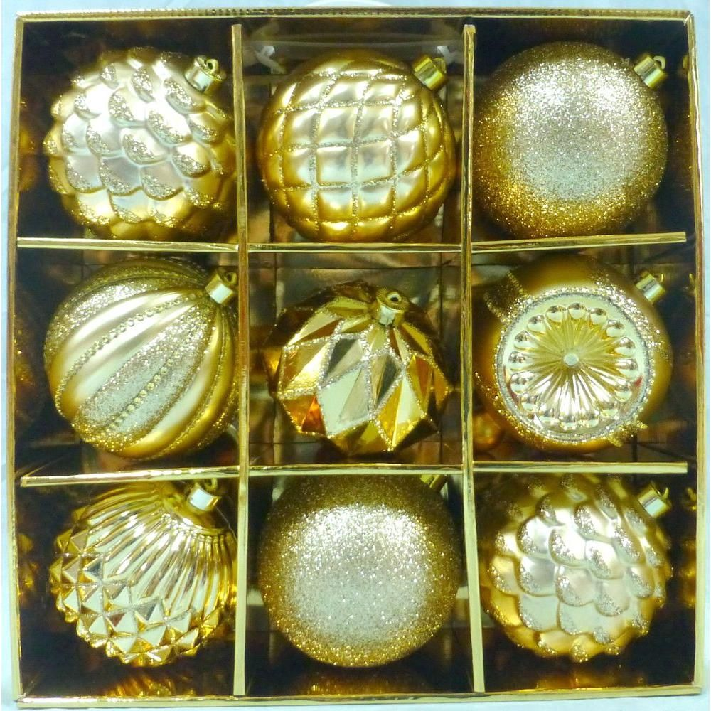 130 mm Gold Shatterproof Ornament (9-Count)