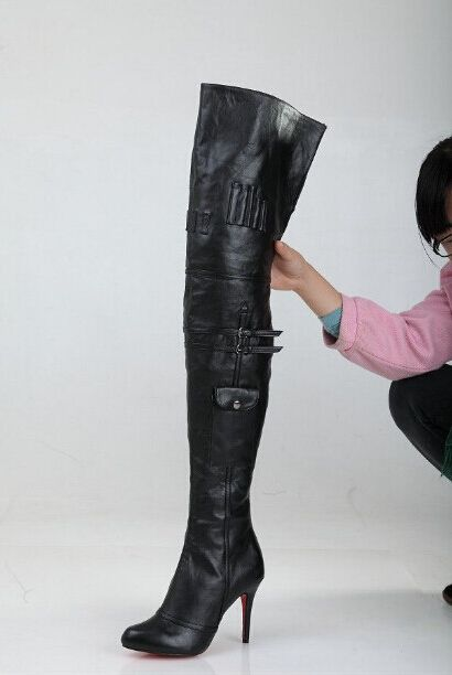 Hot Sale Black Leather Thigh High Boots Sexy Red Sole High Heels ...