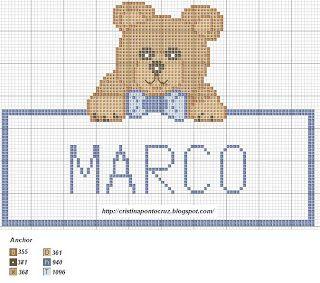 Gráficos Ponto Cruz e Artesanato: Moldura com urso