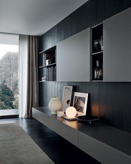 Photo of Parete attrezzata modulare per TV in legno SKIP By Poliform design Studio Kairos