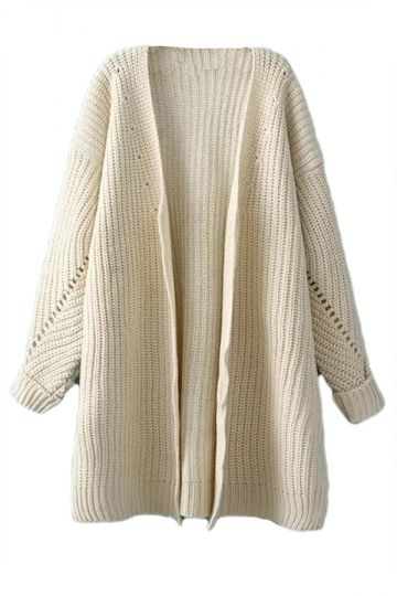 b2bfa9f4ce66 Beige Oversized Womesn Knitted Slit Thick Sweater Plain Cardigan - PINK  QUEEN