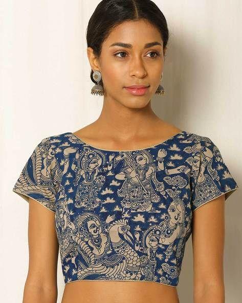 9d393ab2492e89 Buy Blue   Beige Indie Picks Kalamkari Print Cotton Blouse