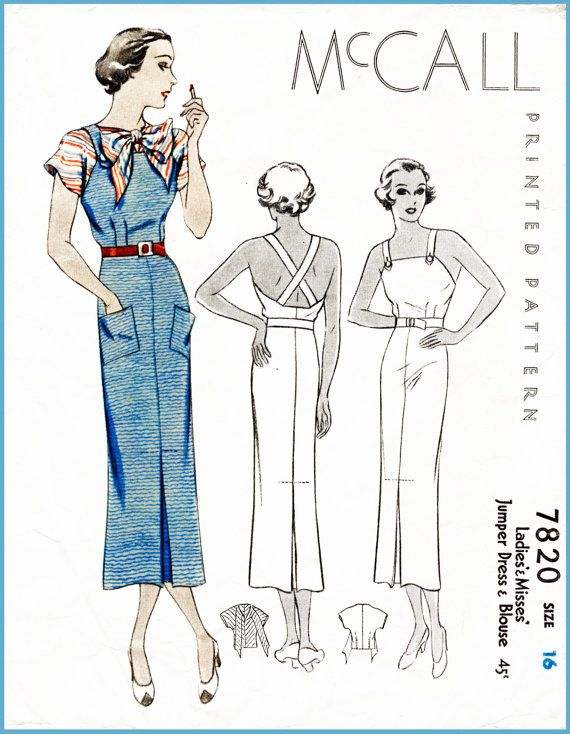 30s 1930s McCall sports dress & blouse bust 34 vintage sewing ...