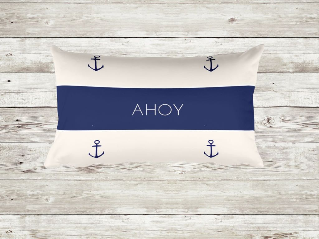 Outdoor Indoor  Anchor Pillow Cushion Cover,Blue Navy Pillow Covers,Beach  Decor,