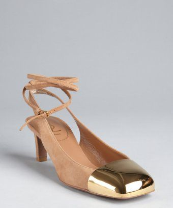 Yves Saint Laurent: taupe suede gold cap toe ankle strapped pumps