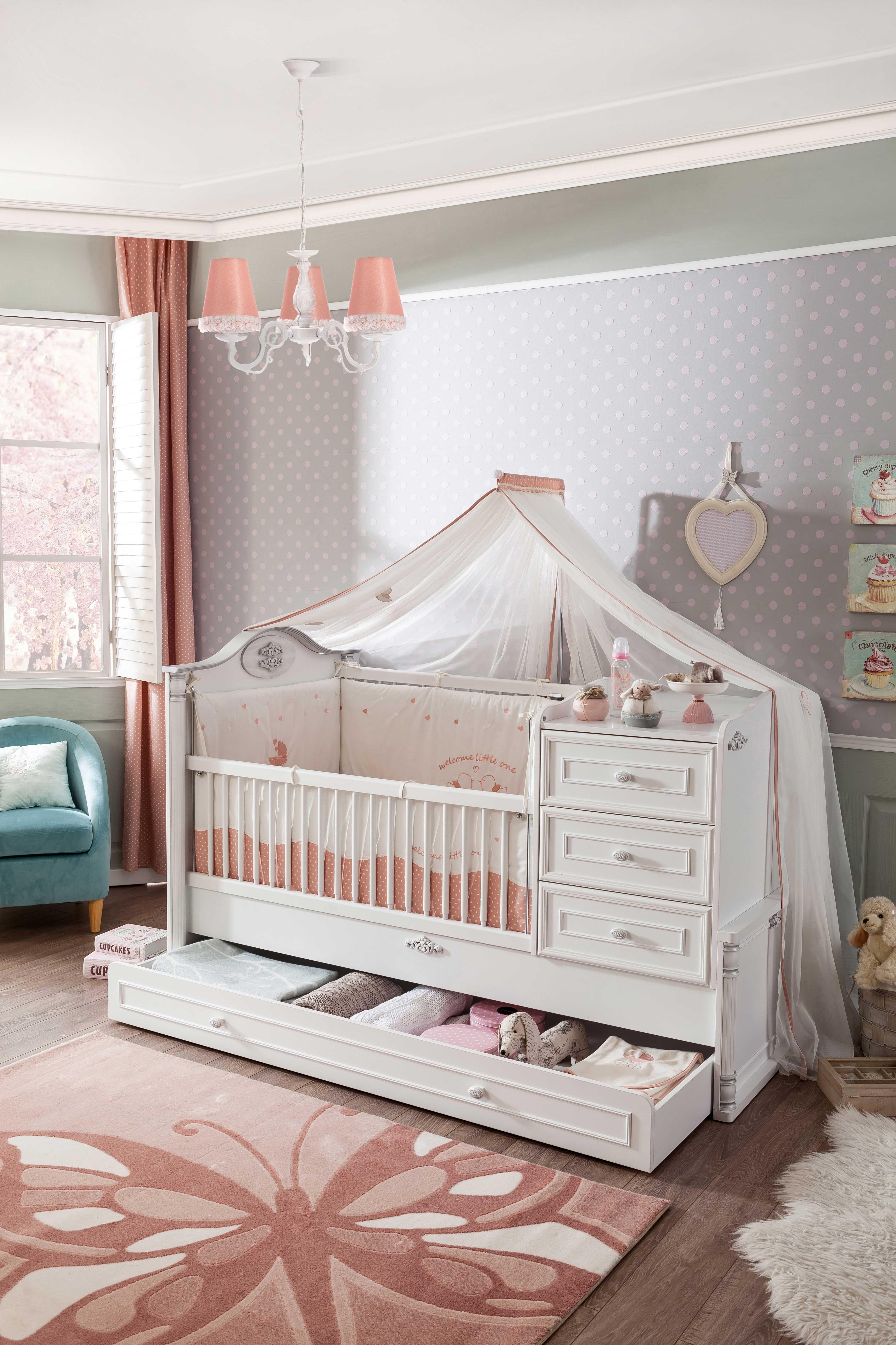 Cilek ROMANTIC Babybett mitwachsend, 80x130180 cm in 2020