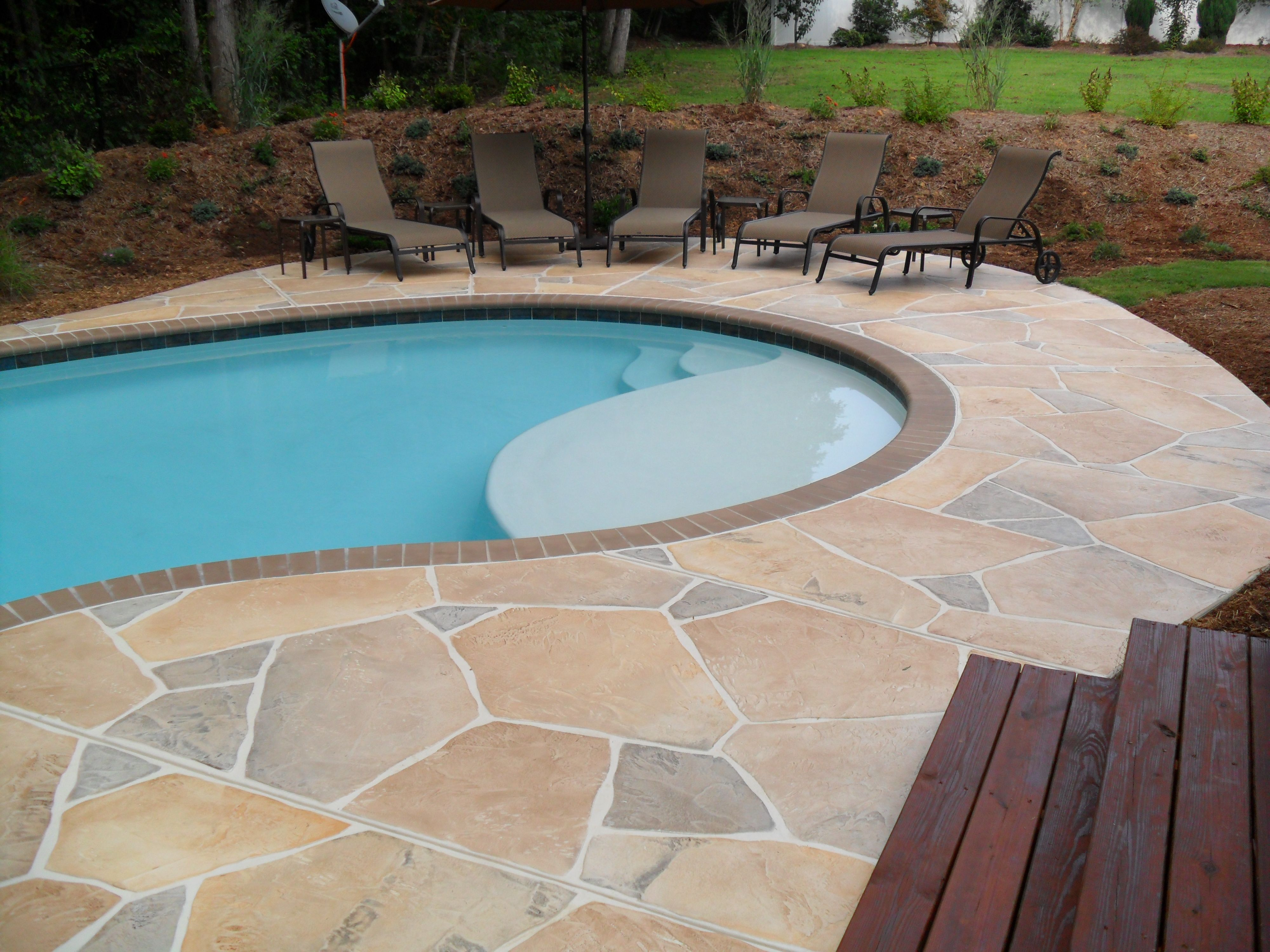 concrete pool deck ideas concrete flagstone simulation pool deck spartanburg sc pool