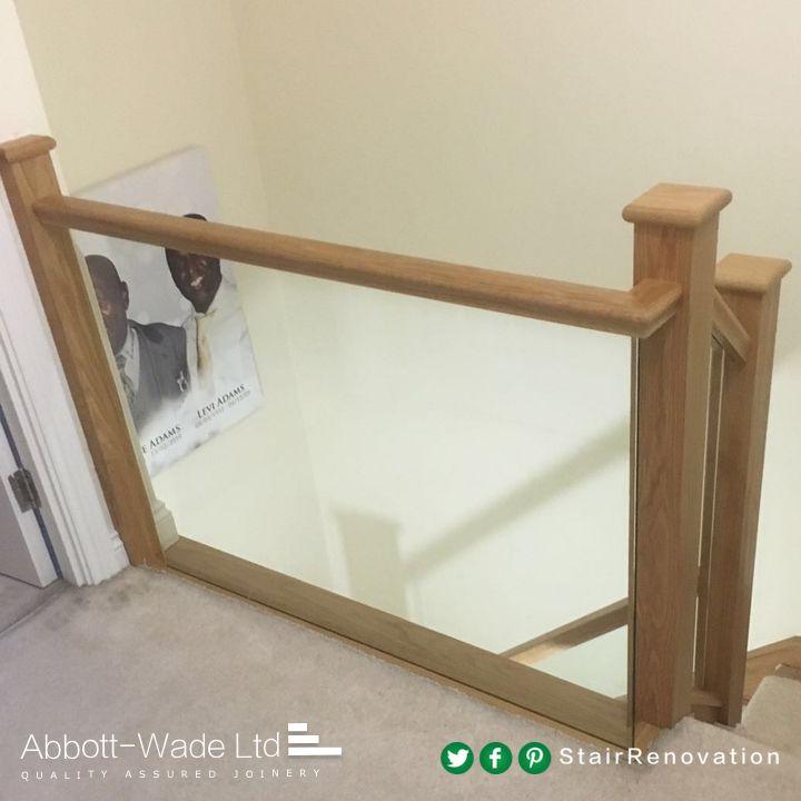 Glass Staircase Balustrade Kit: Oak Rails With Embedded Glass Balustrade