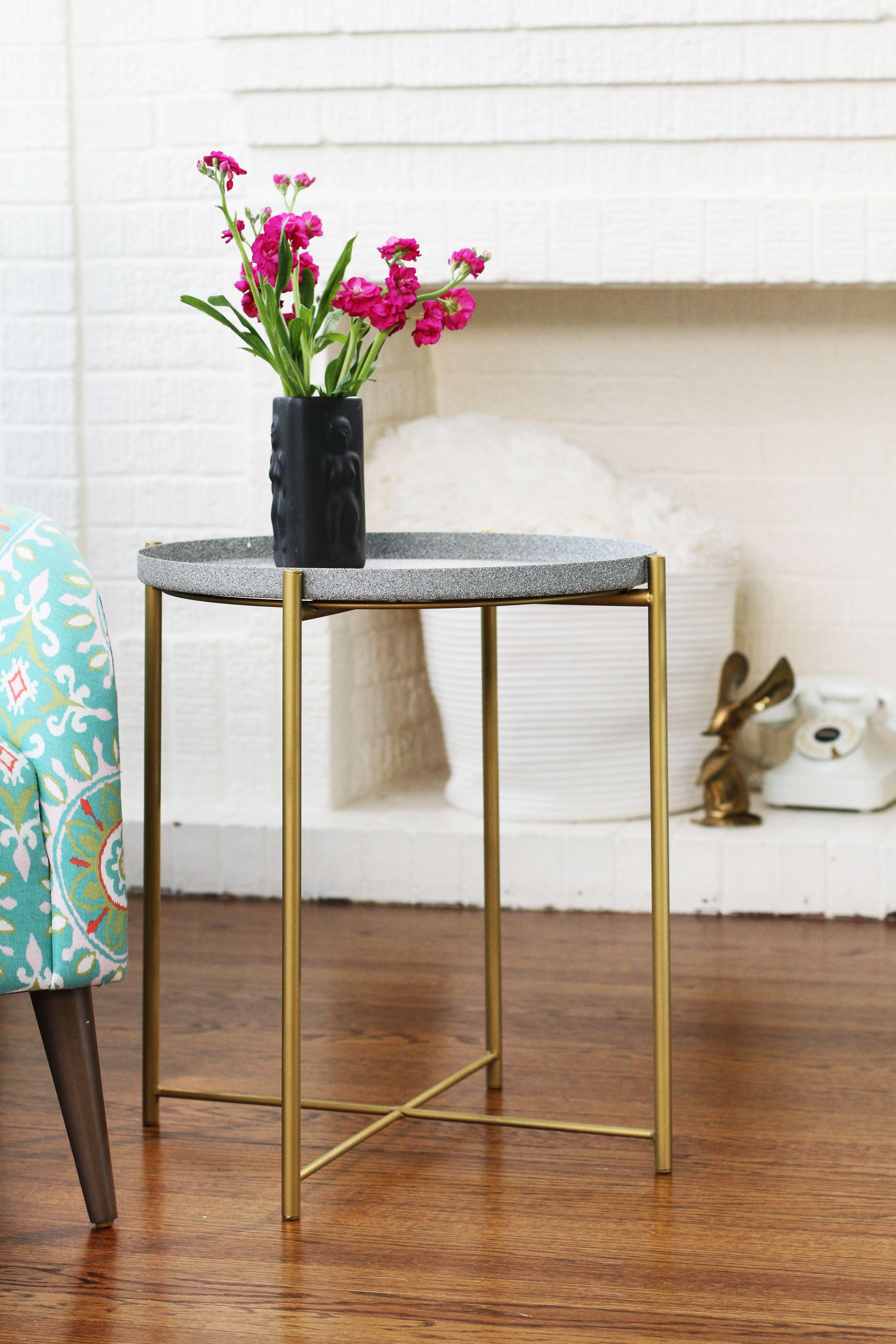 A 30 Ikea Table Gets A Glamorous Spray Paint Hack Ikea Side Table Ikea Table Furniture Hacks [ 4953 x 3302 Pixel ]