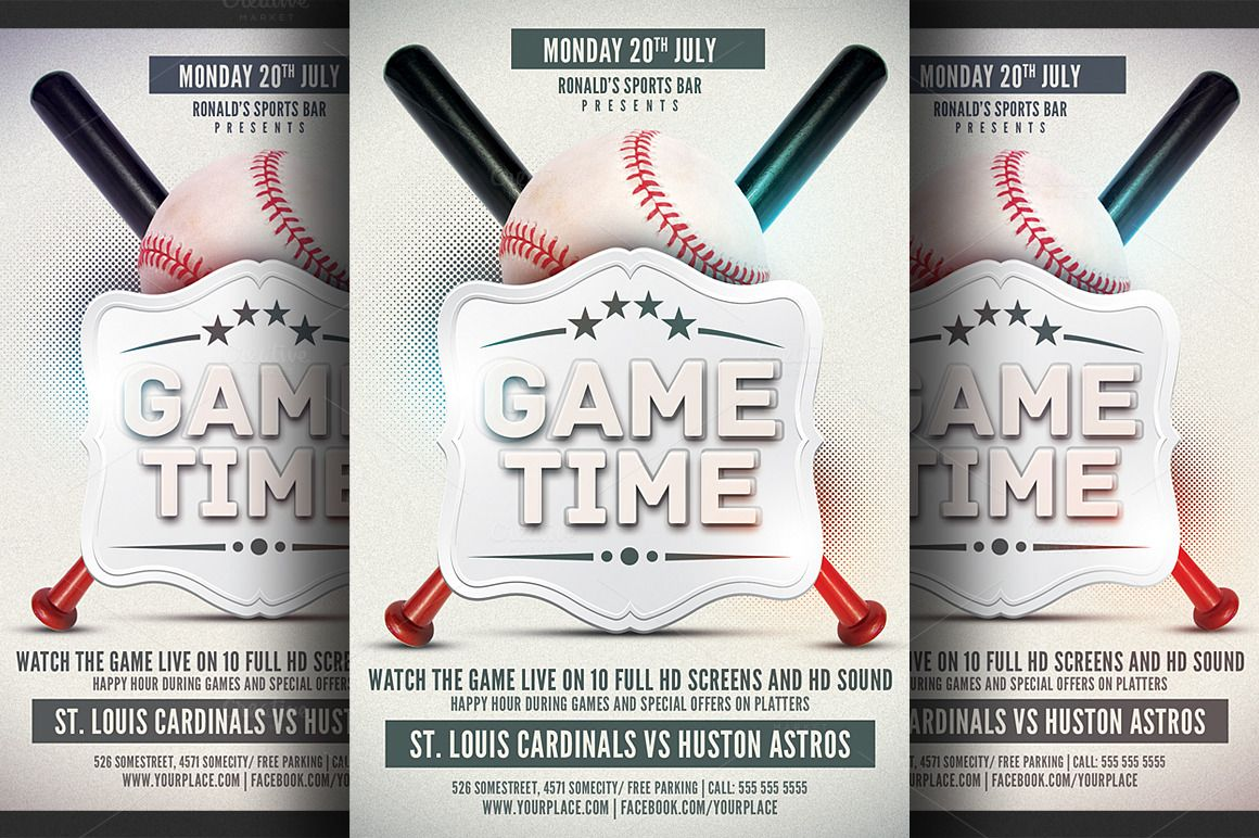 Baseball Game Flyer Template By Hotpin On Creative Market  Base