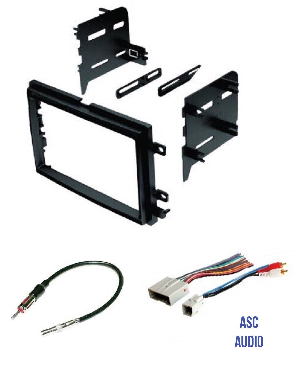 asc audio car stereo radio install dash kit, wire harness, and antenna  adapter to install a double din radio for some ford lincoln mercury  vehicles