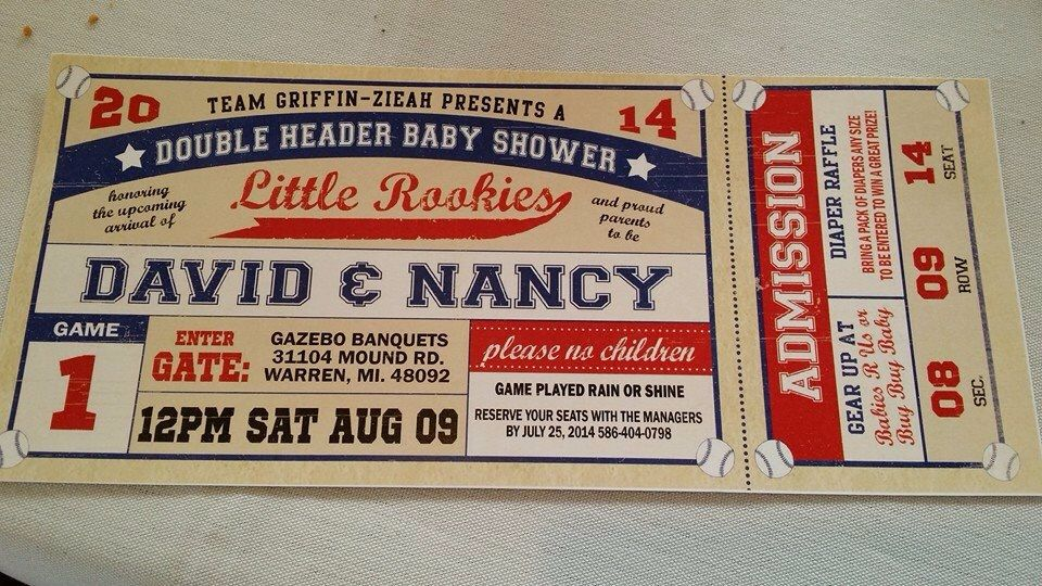 Double Header Baby Shower ticket invitations | A Double Header ...