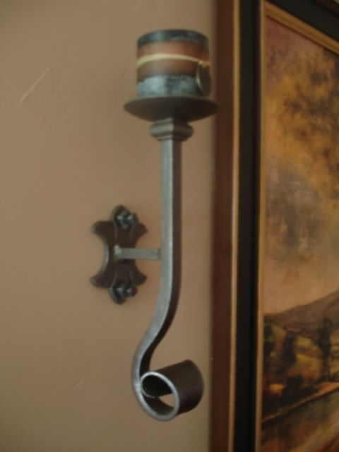 Wrought Iron Candle Sconce or Wall Candle Holder   Wrought ... on Decorative Wall Sconces Candle Holders Chrome Nickel id=54753