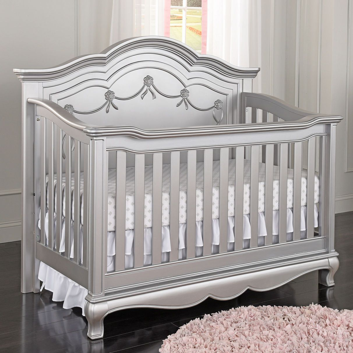 Fesselnd Baby Cache Adelina 4 In 1 Convertible Crib   Metallic Gray
