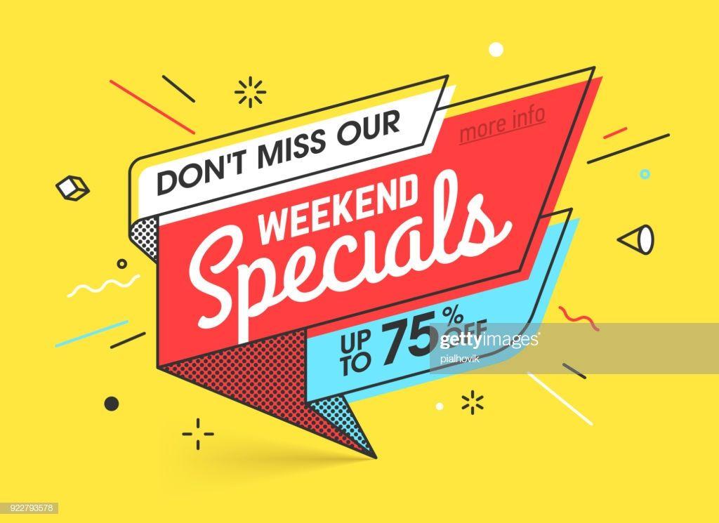 Weekend Specials Sale Banner Template In Flat Trendy New Geometric Web Banner Design Sale Banner Banner Design