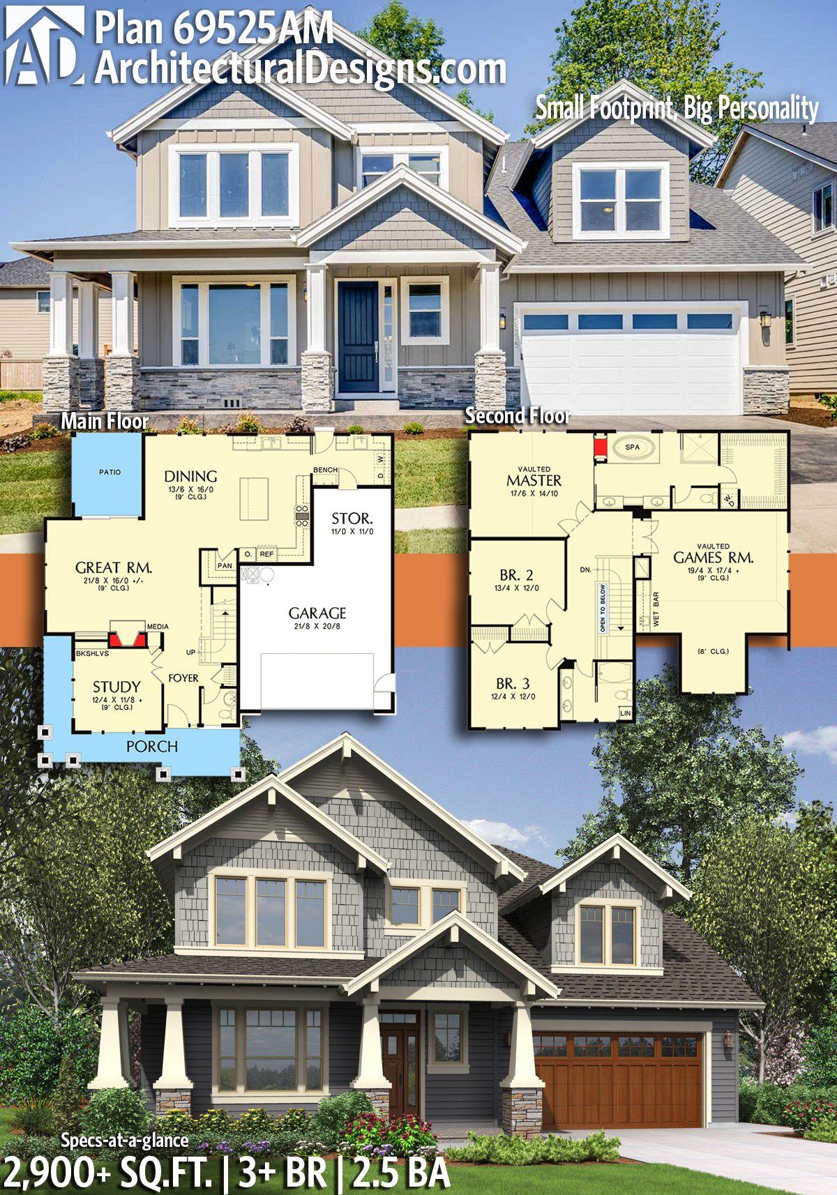 Plan 69525am Small Footprint Big Personality Craftsman House Plans Family House Plans New House Plans