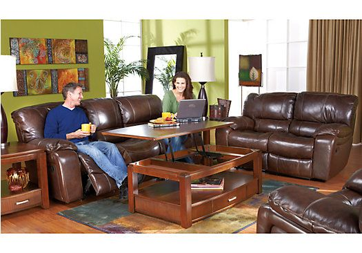 Sanderson Walnut Leather 3 Pc Living Room With Reclining Sofa Leather Living Rooms Living