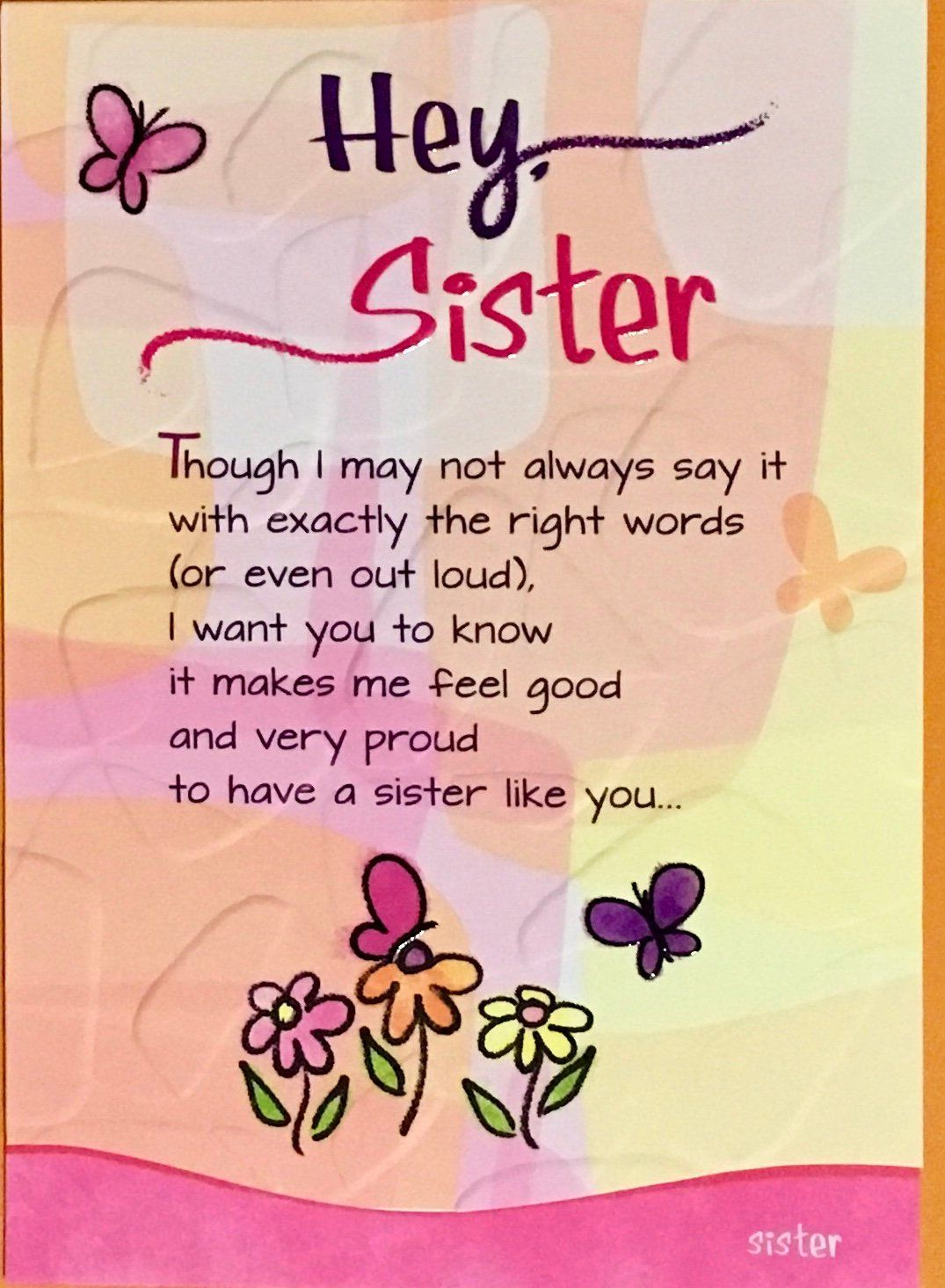 Hey Sister Greeting Card Stationery Gift Water Color