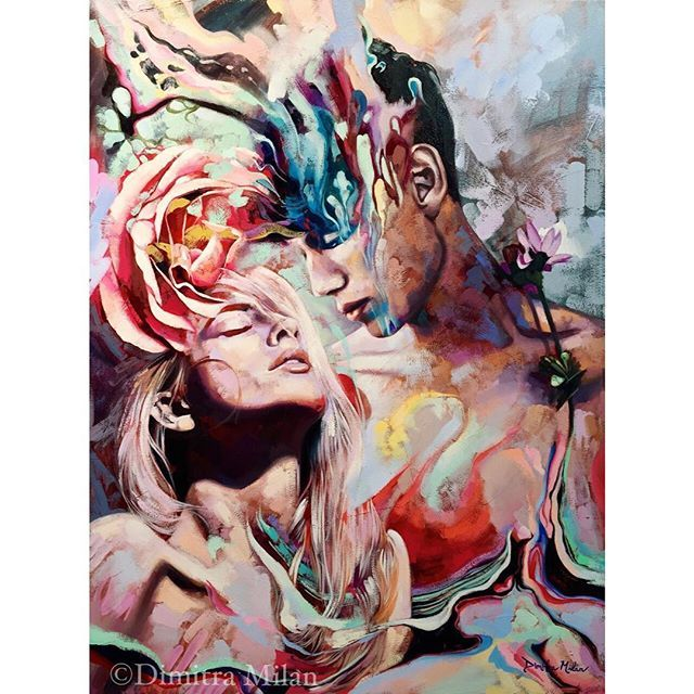 """-Unforgettable- As his mind melts into mine, our thoughts become one. Heavenly wisdom pours deep into my soul, transforming me. With one glance of his perfect eyes, my heart is captured. The way his love reaches the deepest depths of my being, grips my heart, and I am left forever changed... #dimitramilanart #oilpainting #abstract #art"""
