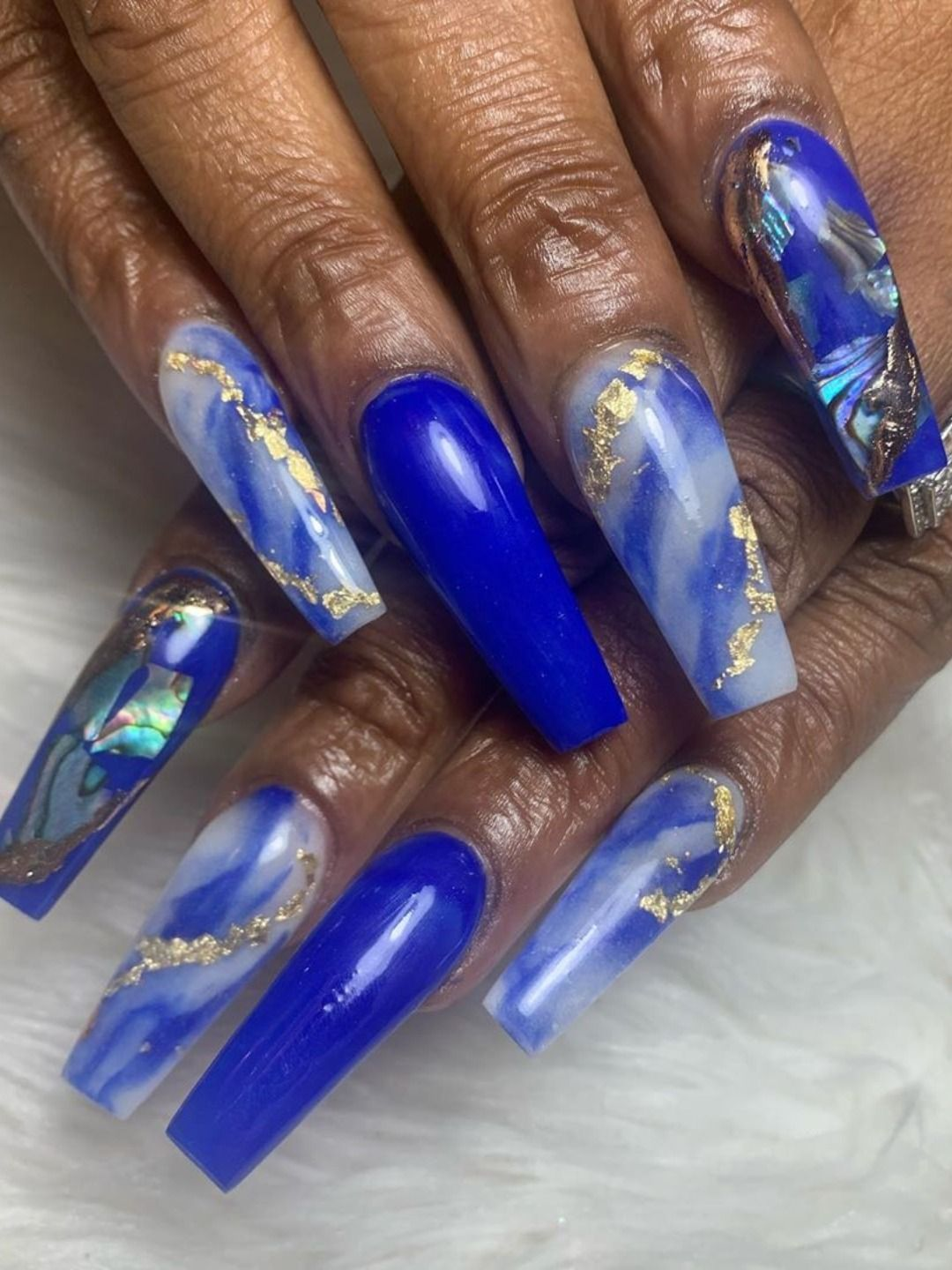 120 Best Coffin Nails Ideas That Suit Everyone Gold Acrylic Nails Rhinestone Nails Blue Nail Designs