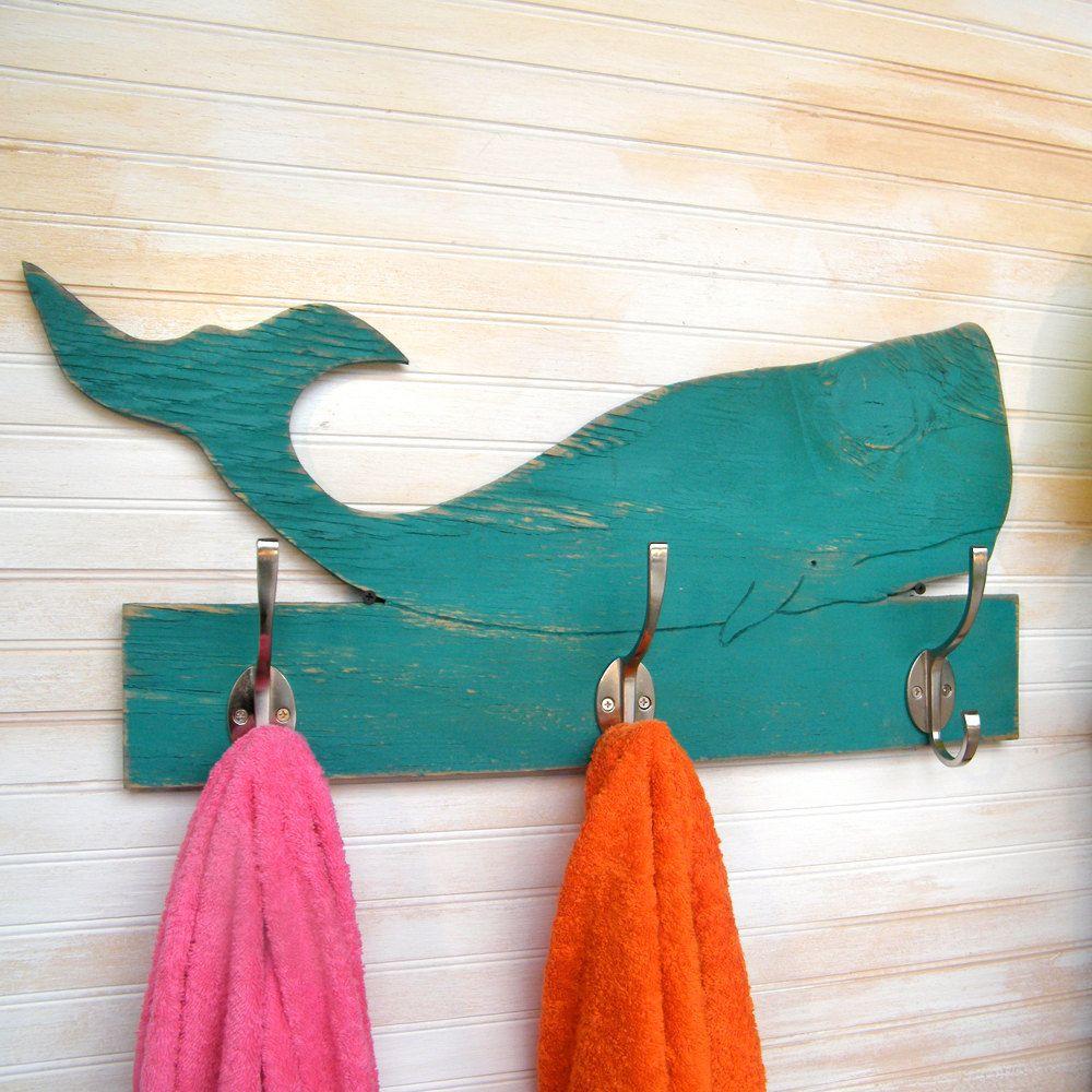 Whale Towel Hook Wooden Kids Bathroom Beach 69 00 Via Etsy