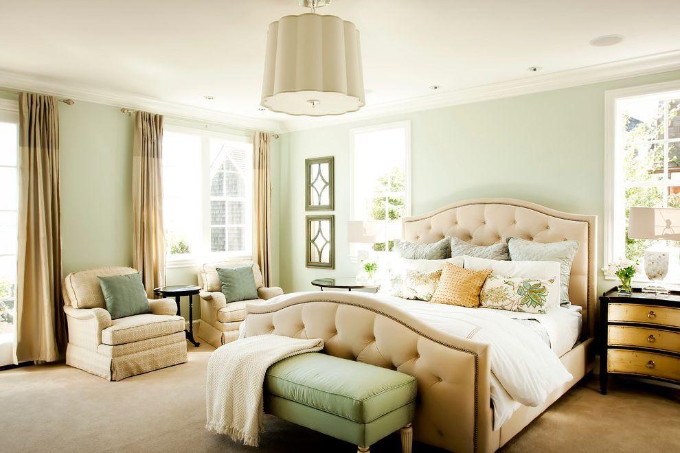 Sherwin Williams Sea Salt Traditional Bedroom With Beige Foot Board
