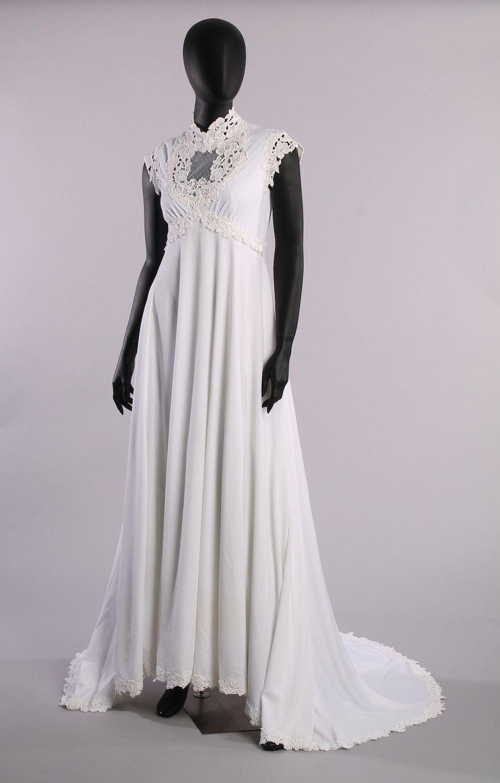 Alfred angelo dream maker wedding dress  Vintage Excellent High Elizabeth Collar Cap Sleeve ALine Skirt