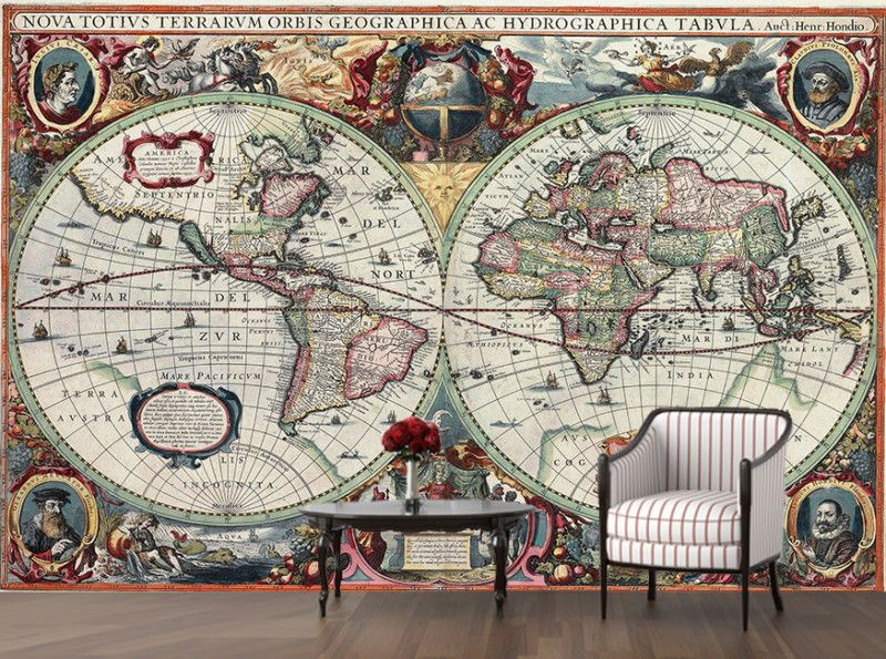 Map of the world vintage ancient 16 century decorating globe atlas map of the world vintage ancient 16 century decorating globe atlas wallpaper mural art 5 gumiabroncs Image collections