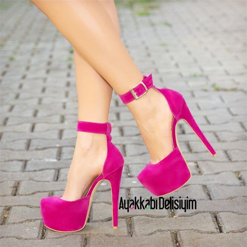 Gabriela Süet Fuşya Platform Topuklu Ayakkabı