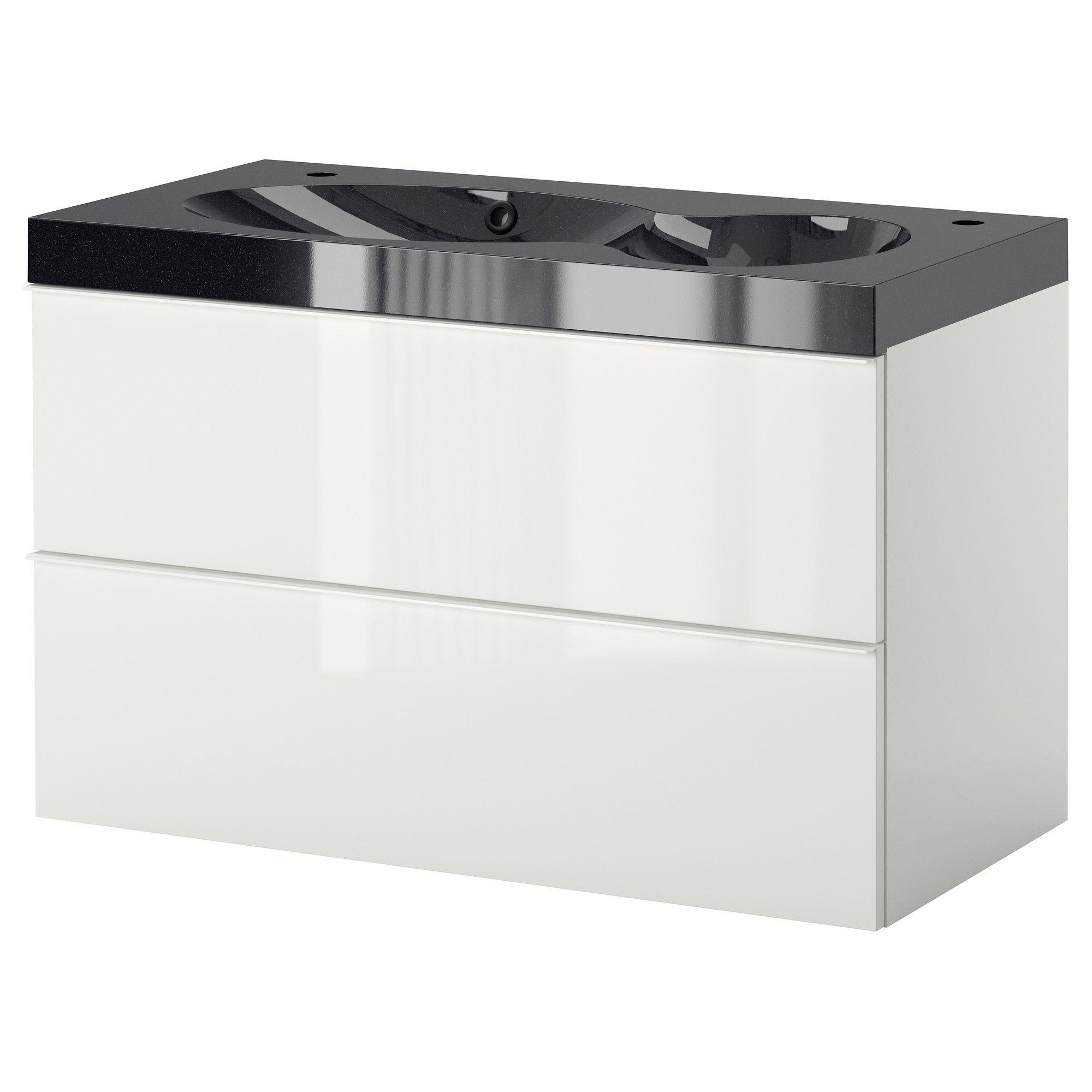 GODMORGON/BREDVIKEN Sink cabinet with 2 drawers - high gloss
