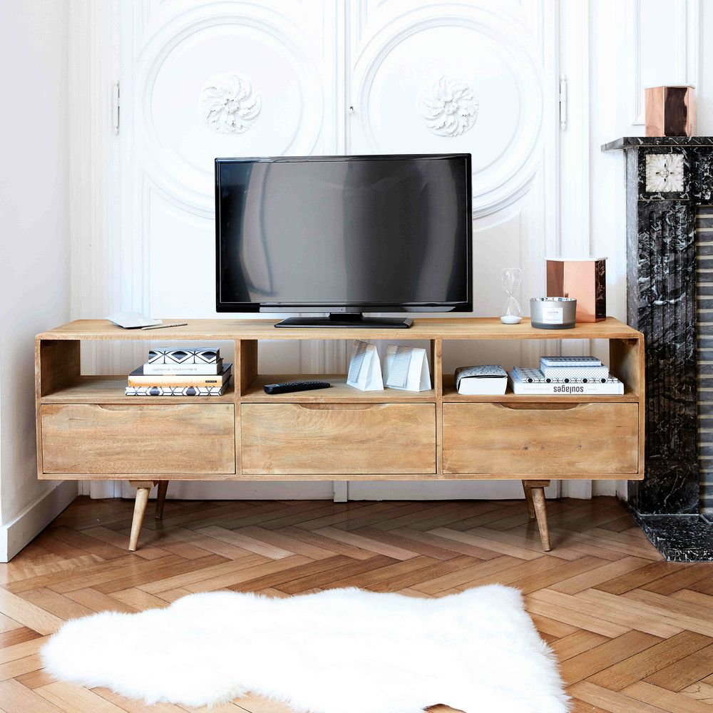 TV-Lowboard im Vintage-Stil aus Mangoholz | TV Möbel, Wohnzimmer und ...