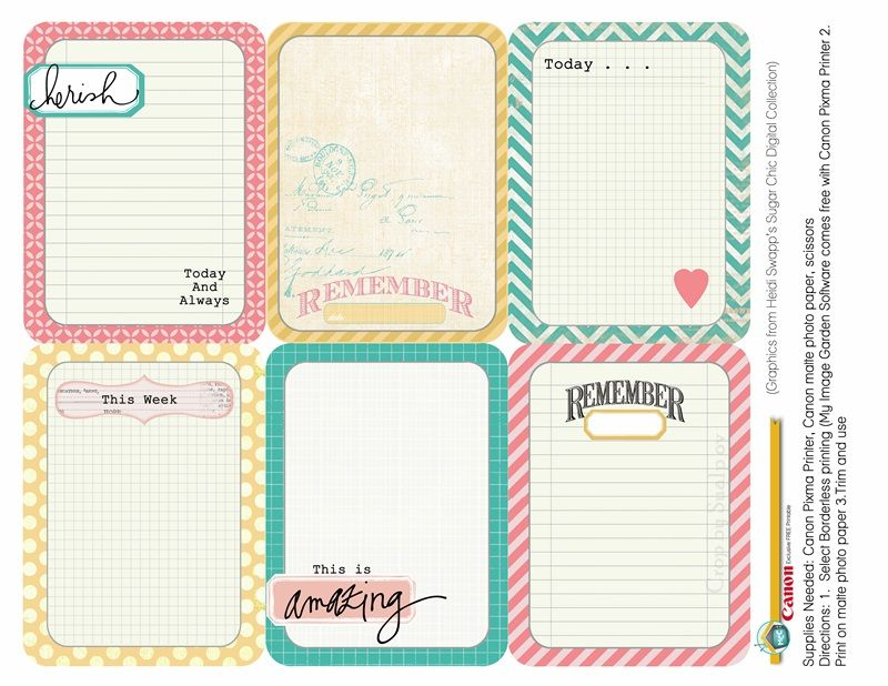 photograph about Free Printable Journaling Cards known as Cost-free Printables JOURNALING Playing cards by way of Heidi Swapp - downloaded