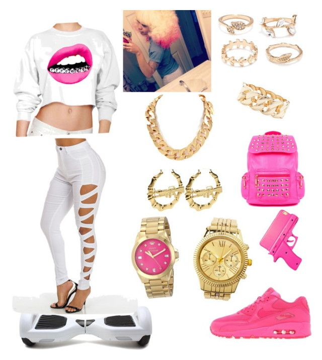 """""""Nonie Bad B****"""" by brianna-685219 ❤ liked on Polyvore featuring Forever 21, NIKE, Charlotte Russe and Juicy Couture"""