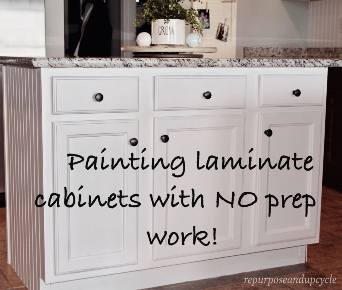 Painting laminate cabinets with no prep work repurpose for Laminate cabinets