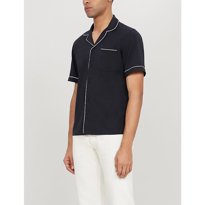 d0f99c865 SANDRO RELAXED-FIT STRETCH-CREPE SHIRT.  sandro  cloth