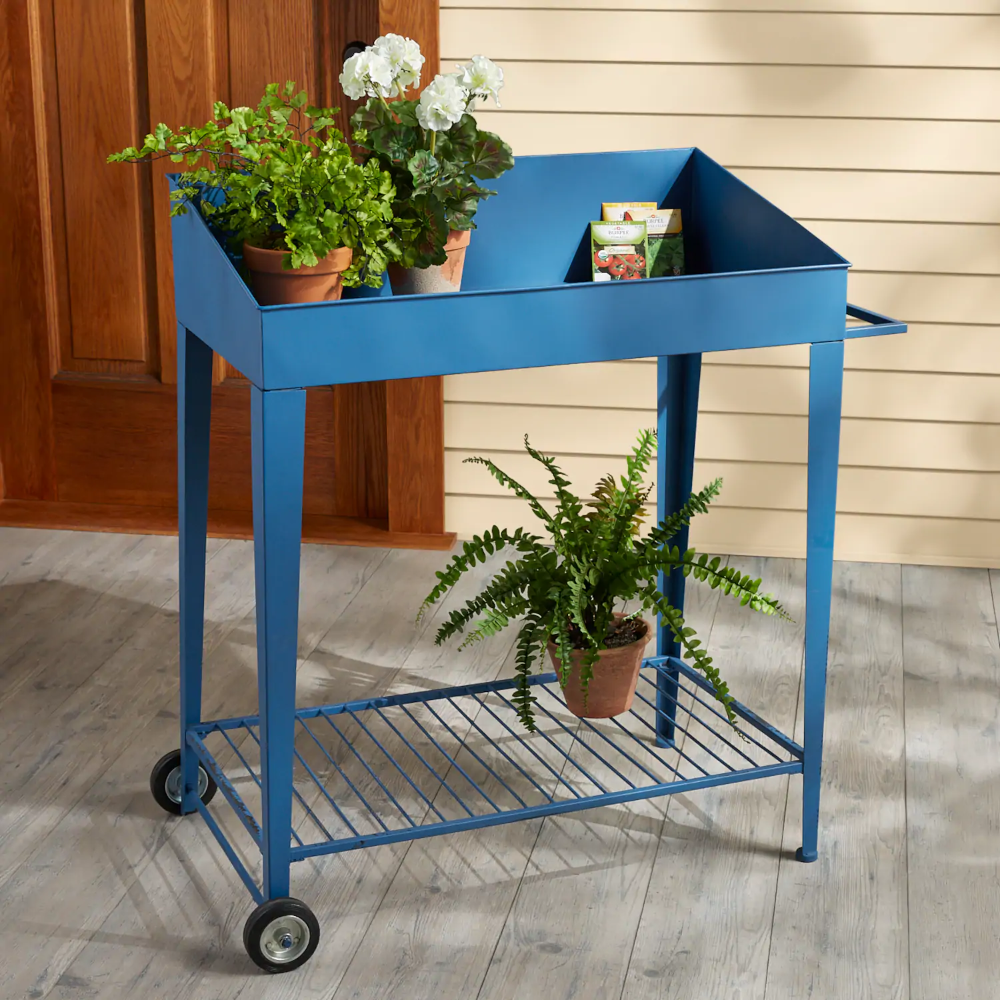 Planter Cart On Wheels | Country Door $139.99 Blue painted ...