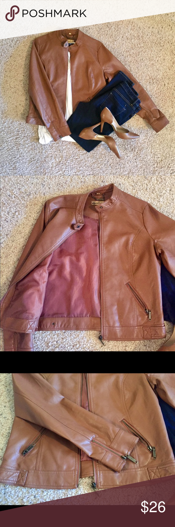 Tan Leather Jacket Faux leather - gorgeous color for the fall and winter. Never worn. It does run a little big even though it's a small. Any questions? Please ask! 🙂 Odyn  Jackets & Coats