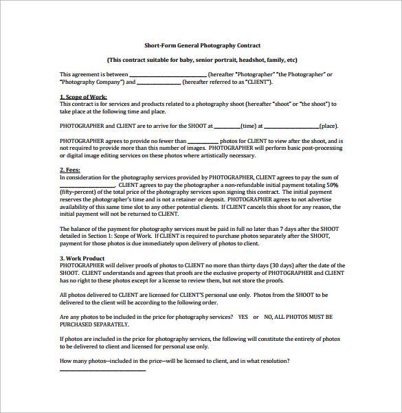 Short Form General Photography Contract Pdf Free Download