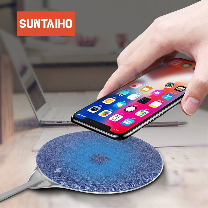 best service a0c96 bdc3e Suntaiho Wireless Charger for iPhone X XS MAX QI 10W Jeans Fast ...