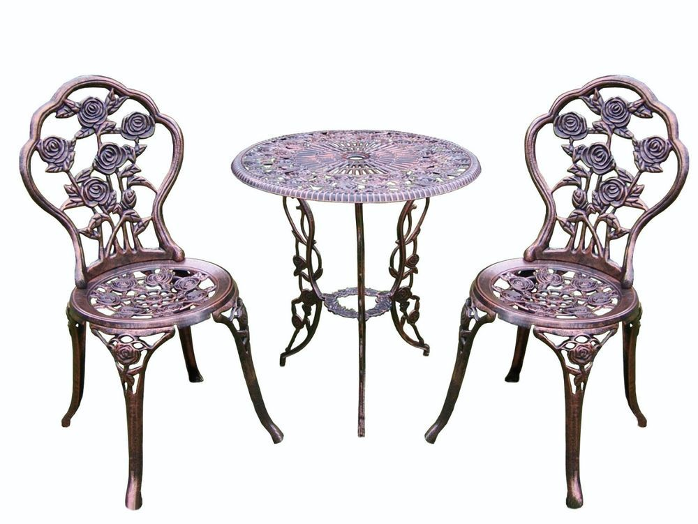 3 Piece Bistro Set Iron Patio Outdoor Garden Furniture ...