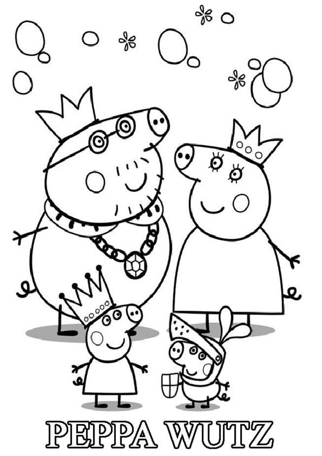 Kinder Ausmalbilder Peppa Wutz: Ausmalbilder Peppa Wutz Familie