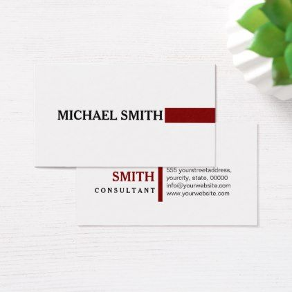 professional elegant maroon modern plain white business card