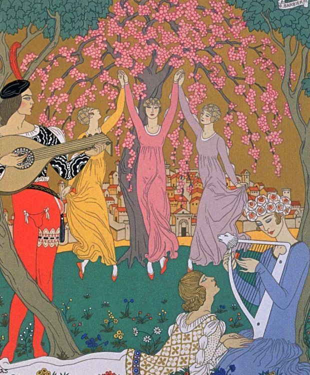 George Barbier (1882-1932) - French Art Deco Fashion Illustrator - 'The Sisters'
