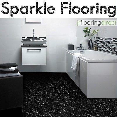Details About Black Sparkly Bathroom Flooring Glitter Effect