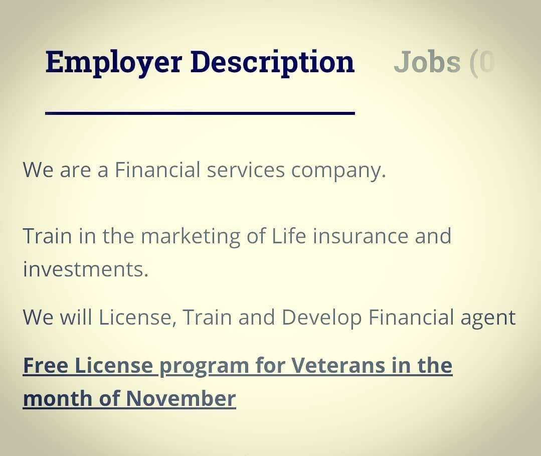 Any Veterans Looking For Work Or An Extra Income Become A Life