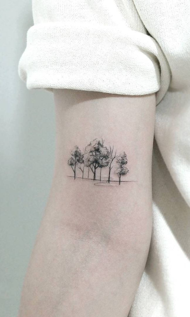 50 beautiful and meaningful tree tattoos, inspired by the way of nature – fantastic minimalist tree tattoo © tattooist chae hwa ð …