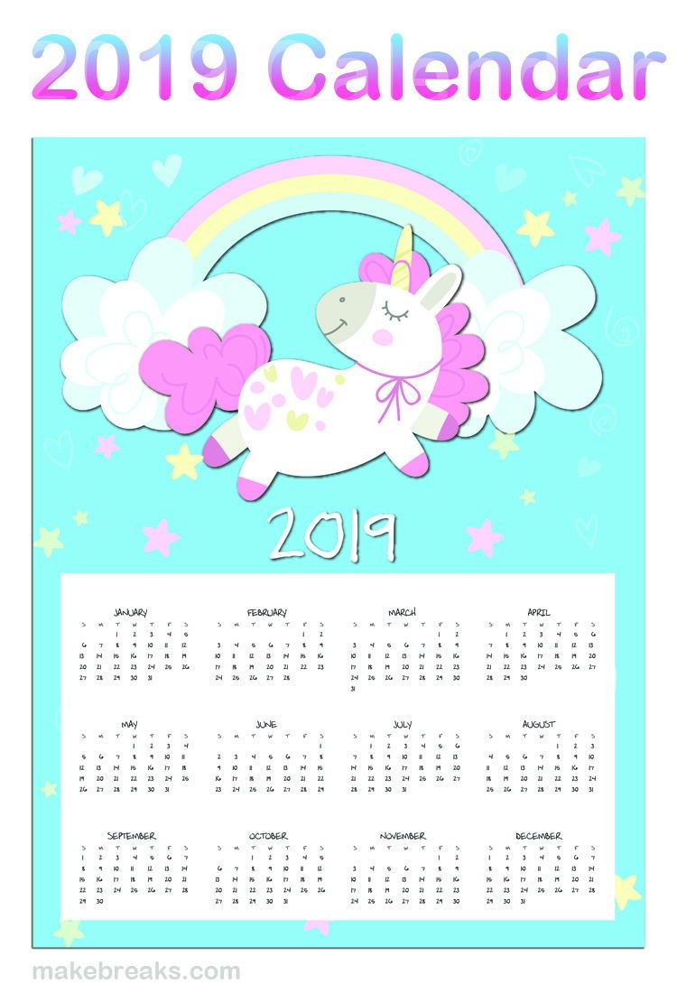 Free Printable Unicorn One Page 2019 Calendar | 2019 Planner