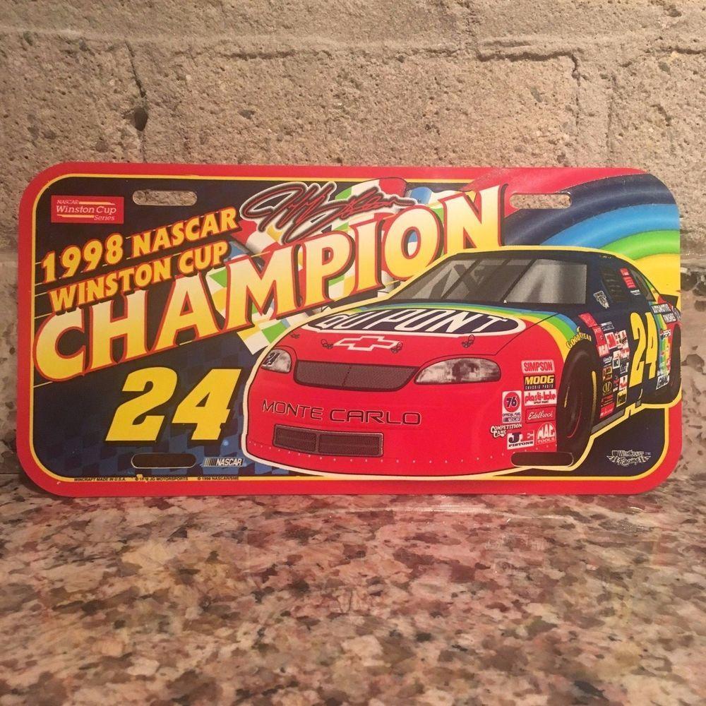 Jeff Gordon 1998 NASCAR Winston Cup Ch&ion Plastic Licence Plate & Jeff Gordon 1998 NASCAR Winston Cup Champion Plastic Licence Plate ...